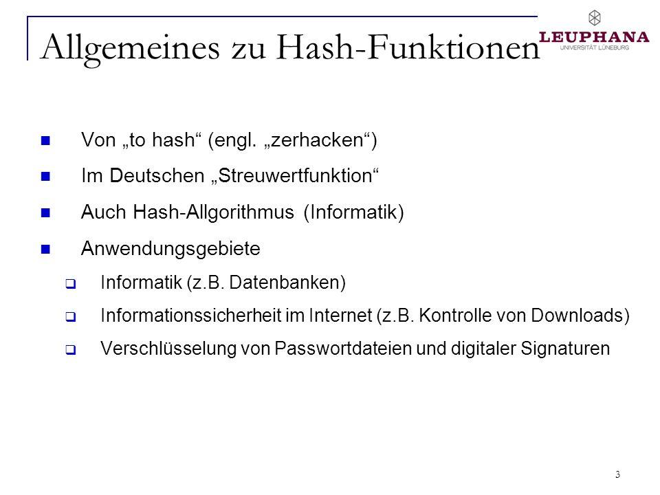 3 Allgemeines zu Hash-Funktionen Von to hash (engl. zerhacken) Im Deutschen Streuwertfunktion Auch Hash-Allgorithmus (Informatik) Anwendungsgebiete In