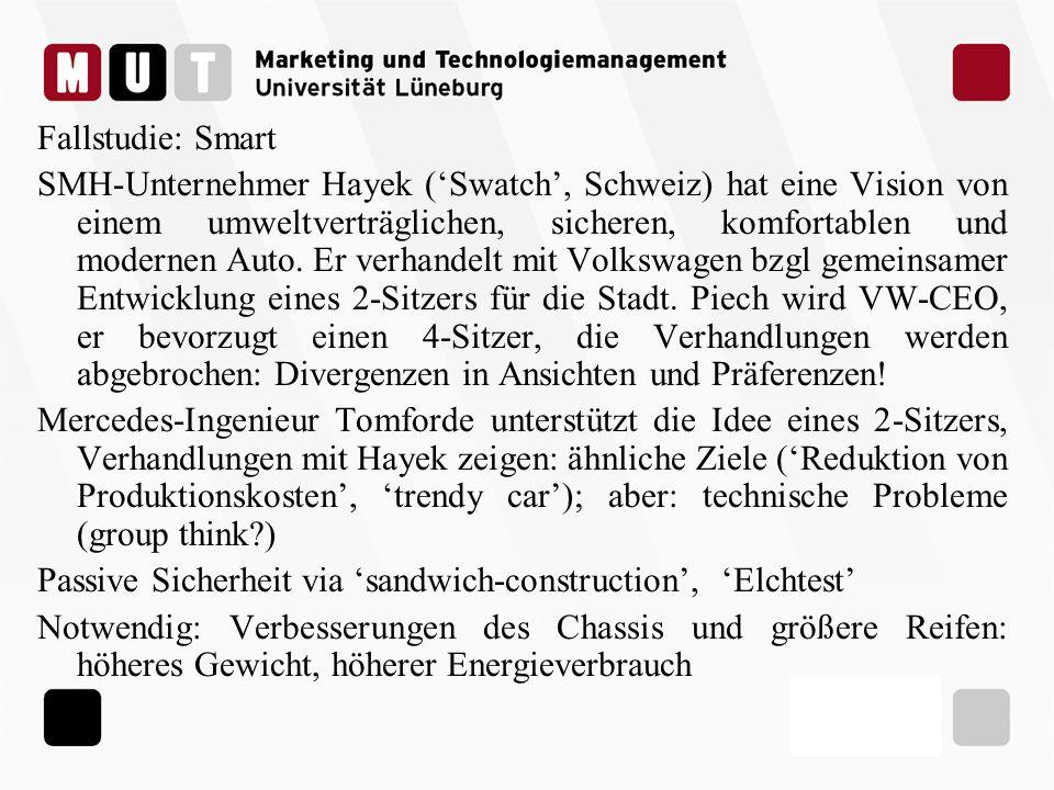 Fallstudie: Smart 1998 ist Markteinführung: verbraucht 5l/100km, Außenteile sind leicht austauschbar (farblich individuell gestaltbar, bei Defekten leichter Austausch) Im Inneren: ein moderner, junger Mercedes Industriebeobachter warnen: Imageschäden für Swatch und Mercedes.