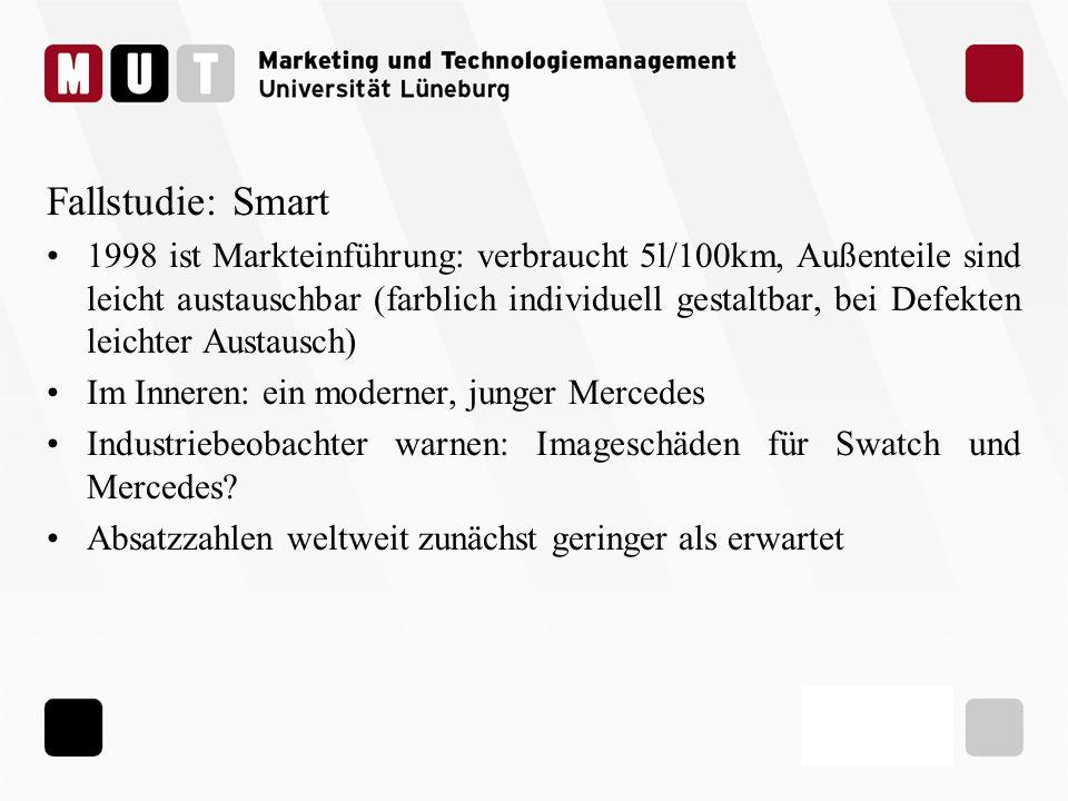 Fallstudie: Smart 1998 ist Markteinführung: verbraucht 5l/100km, Außenteile sind leicht austauschbar (farblich individuell gestaltbar, bei Defekten le