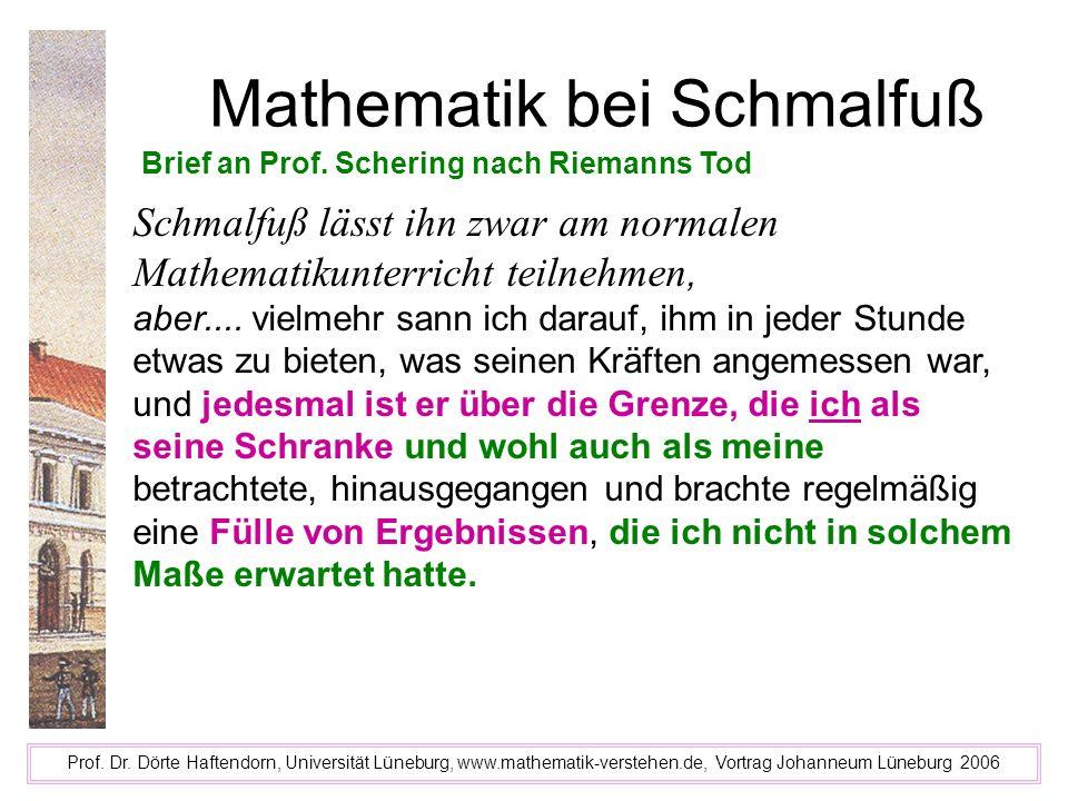 Mathematik bei Schmalfuß Prof. Dr. Dörte Haftendorn, Universität Lüneburg, www.mathematik-verstehen.de, Vortrag Johanneum Lüneburg 2006 Brief an Prof.