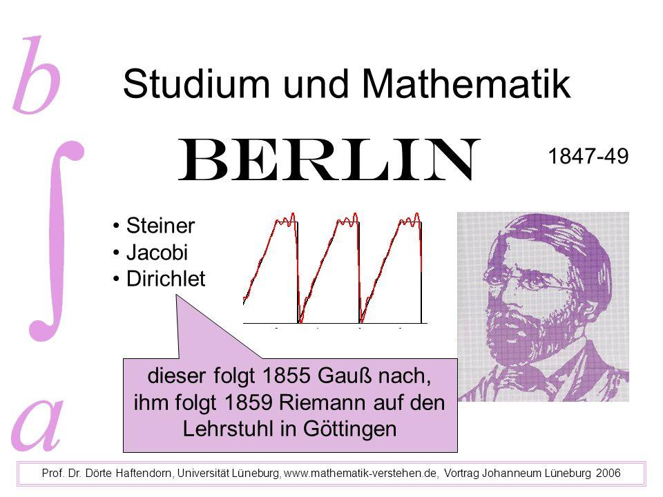 Studium und Mathematik Prof. Dr. Dörte Haftendorn, Universität Lüneburg, www.mathematik-verstehen.de, Vortrag Johanneum Lüneburg 2006 Berlin Steiner J