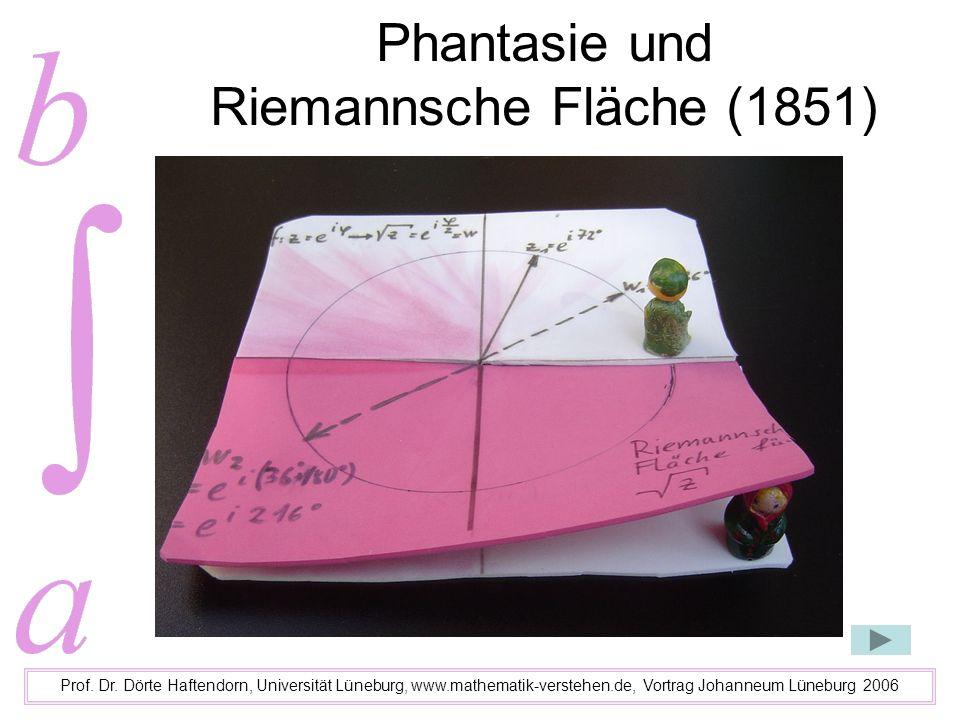 Phantasie und Riemannsche Fläche (1851) Prof. Dr. Dörte Haftendorn, Universität Lüneburg, www.mathematik-verstehen.de, Vortrag Johanneum Lüneburg 2006