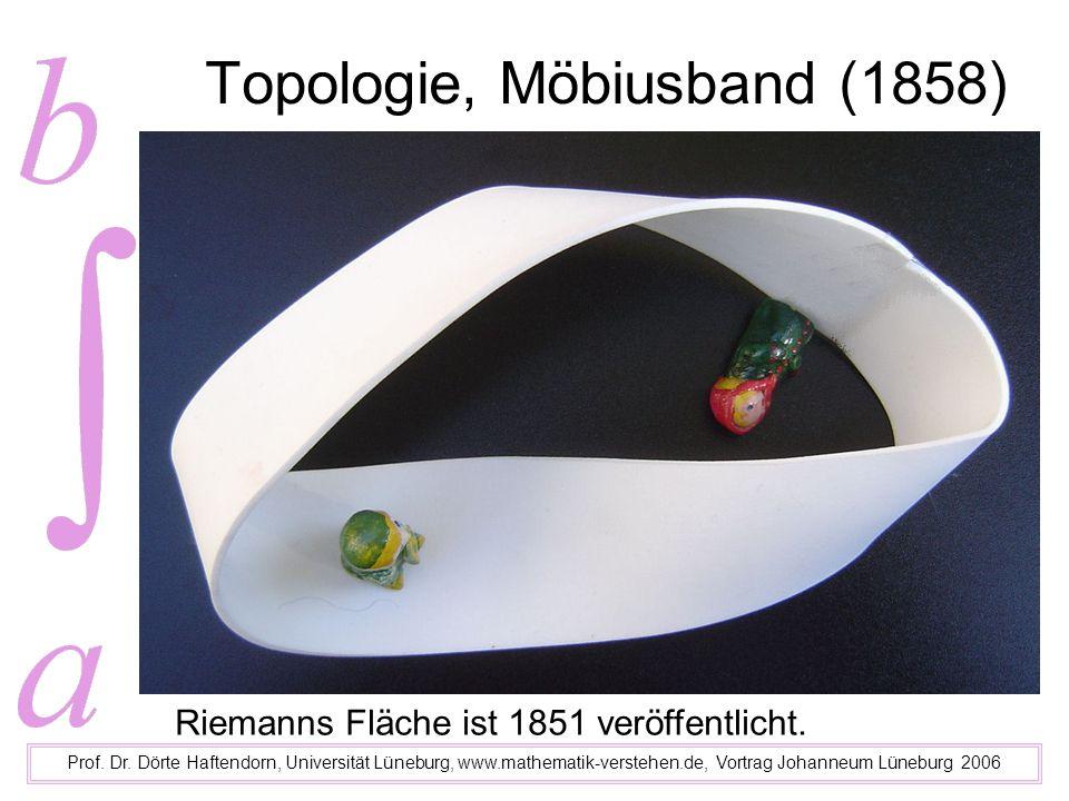 Topologie, Möbiusband (1858) Prof. Dr. Dörte Haftendorn, Universität Lüneburg, www.mathematik-verstehen.de, Vortrag Johanneum Lüneburg 2006 Riemanns F