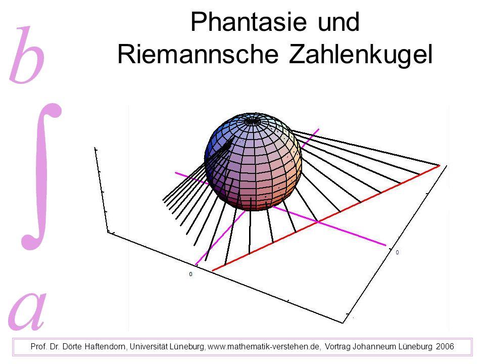 Phantasie und Riemannsche Zahlenkugel Prof. Dr. Dörte Haftendorn, Universität Lüneburg, www.mathematik-verstehen.de, Vortrag Johanneum Lüneburg 2006