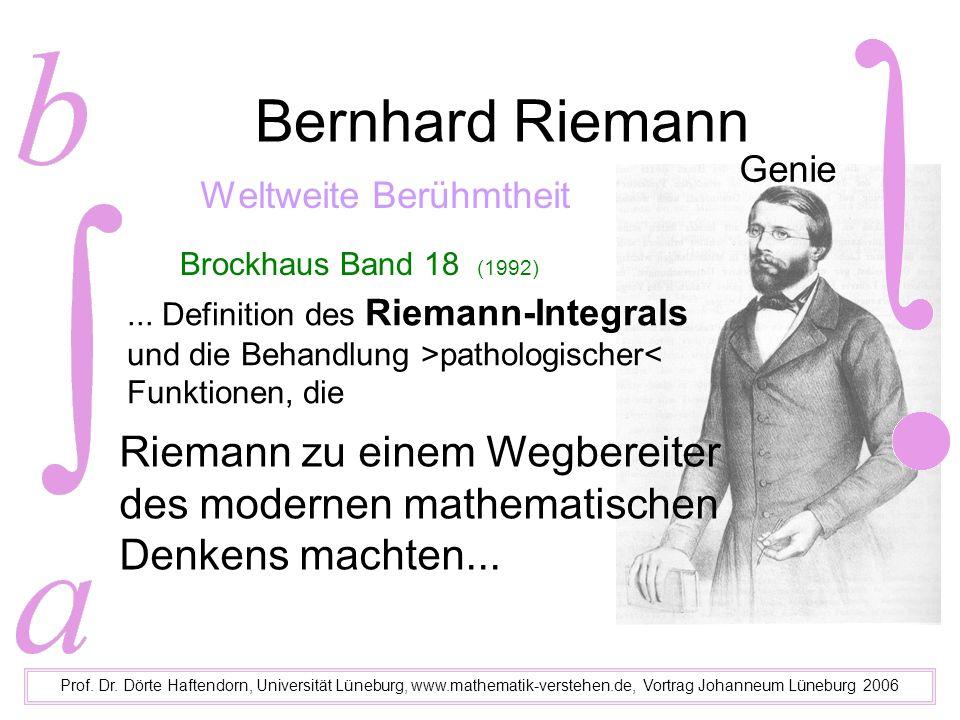 Bernhard Riemann Prof. Dr. Dörte Haftendorn, Universität Lüneburg, www.mathematik-verstehen.de, Vortrag Johanneum Lüneburg 2006 Genie Weltweite Berühm