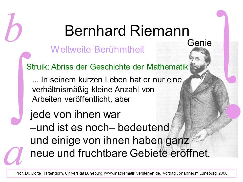 Bernhard Riemann schon 1846 als Abiturient am Johanneum ein Mathematik-Genie Prof.
