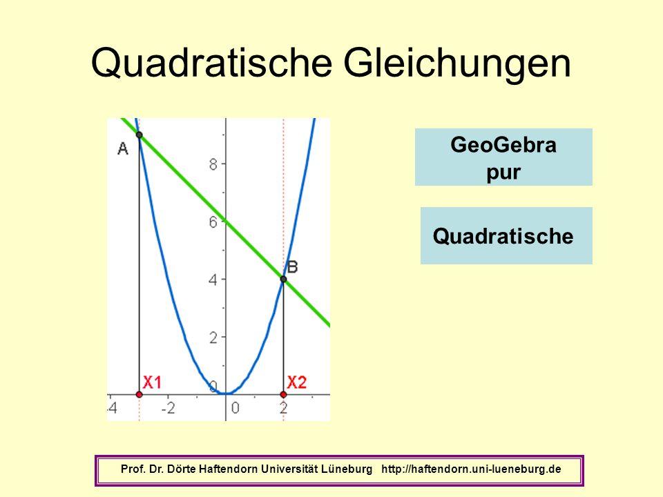 Quadratische Gleichungen Prof. Dr. Dörte Haftendorn Universität Lüneburg http://haftendorn.uni-lueneburg.de Quadratische GeoGebra pur