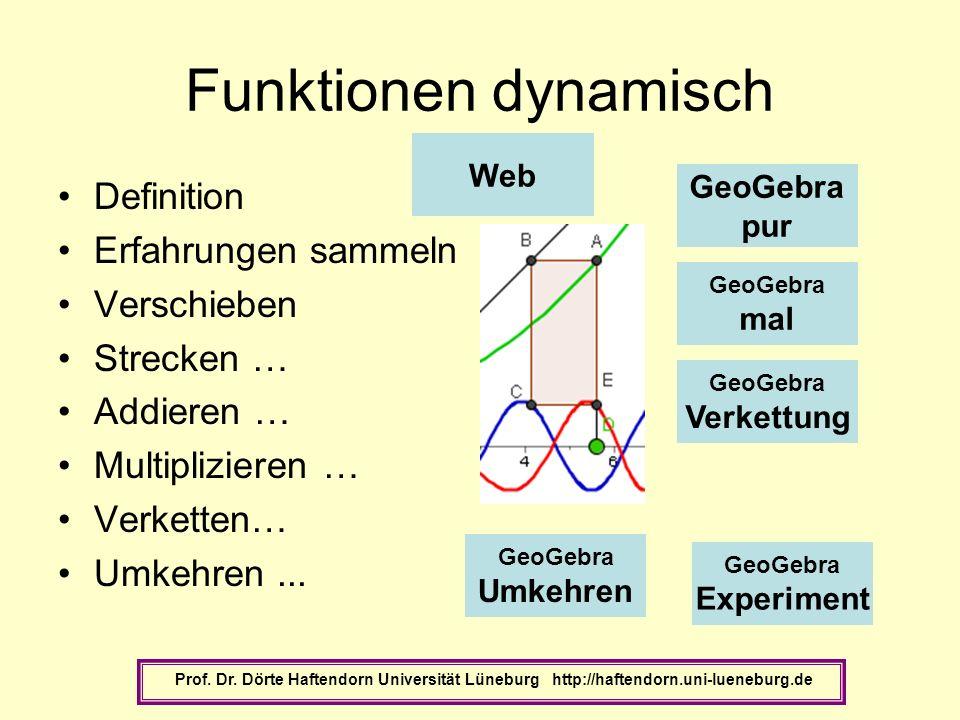 Funktionen dynamisch Definition Erfahrungen sammeln Verschieben Strecken … Addieren … Multiplizieren … Verketten… Umkehren... Prof. Dr. Dörte Haftendo
