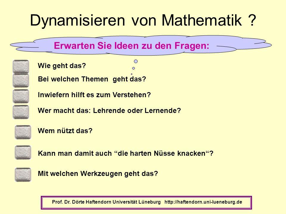 Wer macht das: Lehrende oder Lernende? Dynamisieren von Mathematik ? Wie geht das? Bei welchen Themen geht das? Wem nützt das? Inwiefern hilft es zum
