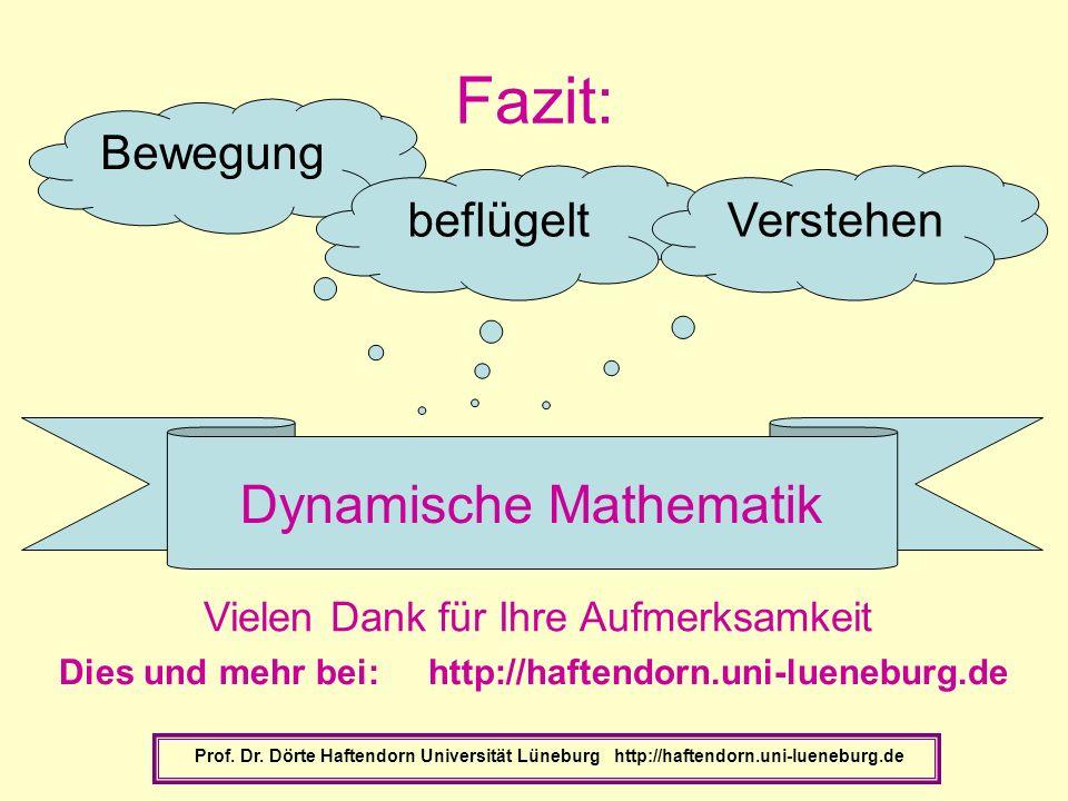 Fazit: Prof. Dr. Dörte Haftendorn Universität Lüneburg http://haftendorn.uni-lueneburg.de Bewegung beflügeltVerstehen Dynamische Mathematik Vielen Dan