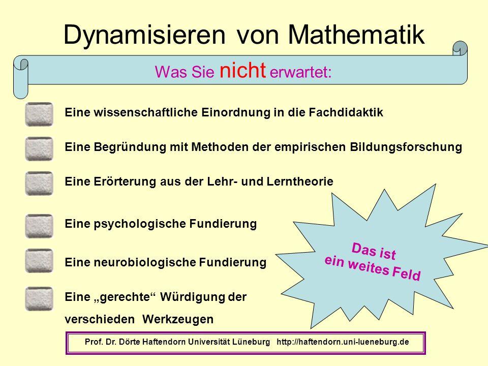 Eine Erörterung aus der Lehr- und Lerntheorie Dynamisieren von Mathematik Prof. Dr. Dörte Haftendorn Universität Lüneburg http://haftendorn.uni-lueneb