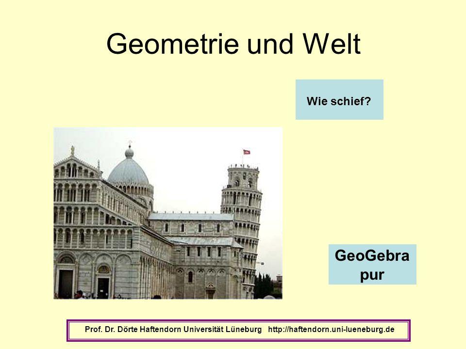 Geometrie und Welt Prof. Dr. Dörte Haftendorn Universität Lüneburg http://haftendorn.uni-lueneburg.de GeoGebra pur Wie schief?