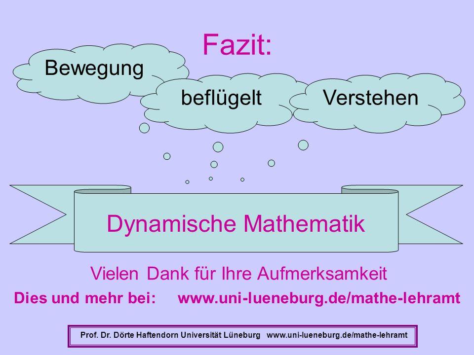 Fazit: Prof. Dr. Dörte Haftendorn Universität Lüneburg www.uni-lueneburg.de/mathe-lehramt Bewegung beflügeltVerstehen Dynamische Mathematik Vielen Dan