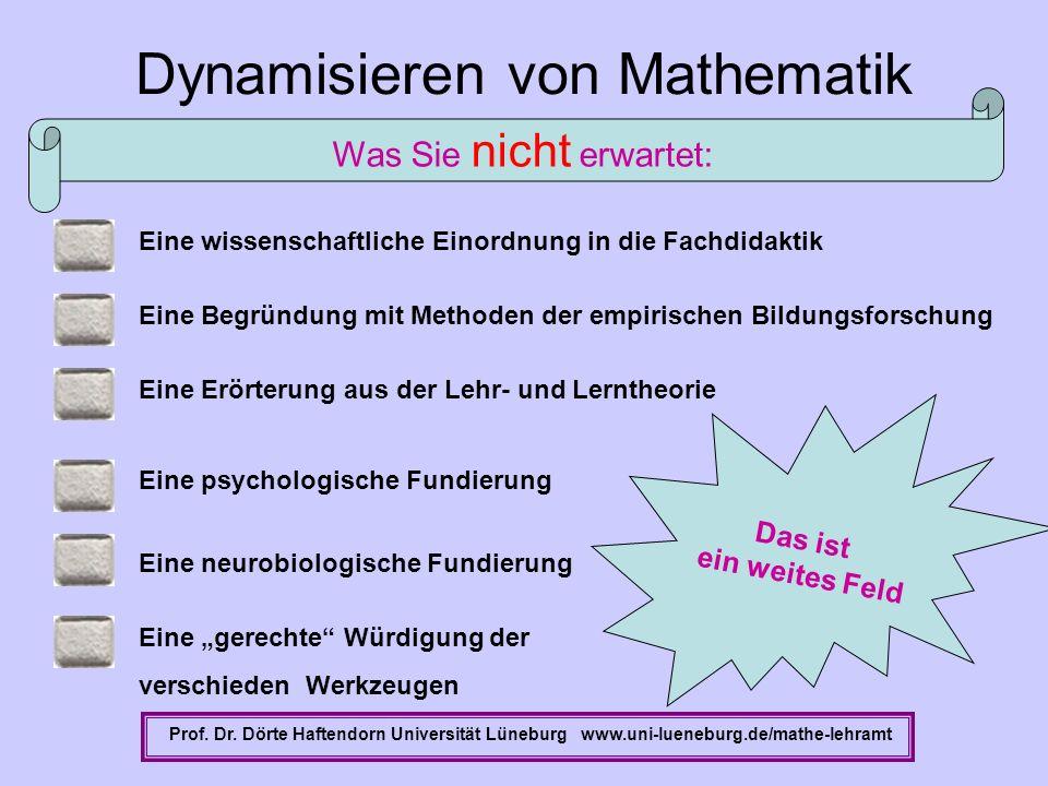 Eine Erörterung aus der Lehr- und Lerntheorie Dynamisieren von Mathematik Prof. Dr. Dörte Haftendorn Universität Lüneburg www.uni-lueneburg.de/mathe-l