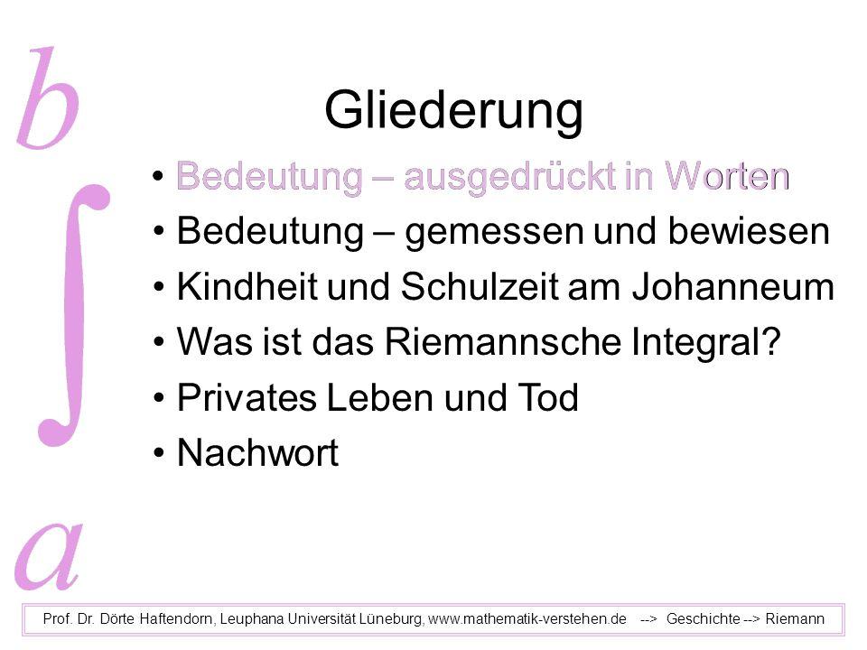 Bedeutung – gemessen und bewiesen Kindheit und Schulzeit am Johanneum Was ist das Riemannsche Integral? Privates Leben und Tod Nachwort Gliederung Pro