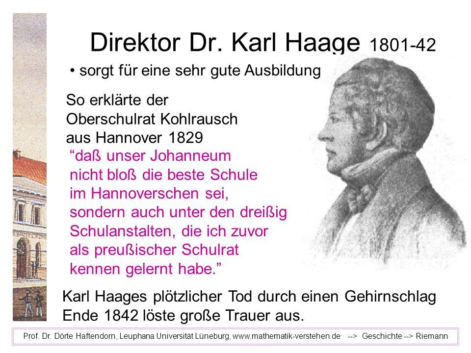 Direktor Dr. Karl Haage 1801-42 Prof. Dr. Dörte Haftendorn, Leuphana Universität Lüneburg, www.mathematik-verstehen.de --> Geschichte --> Riemann So e