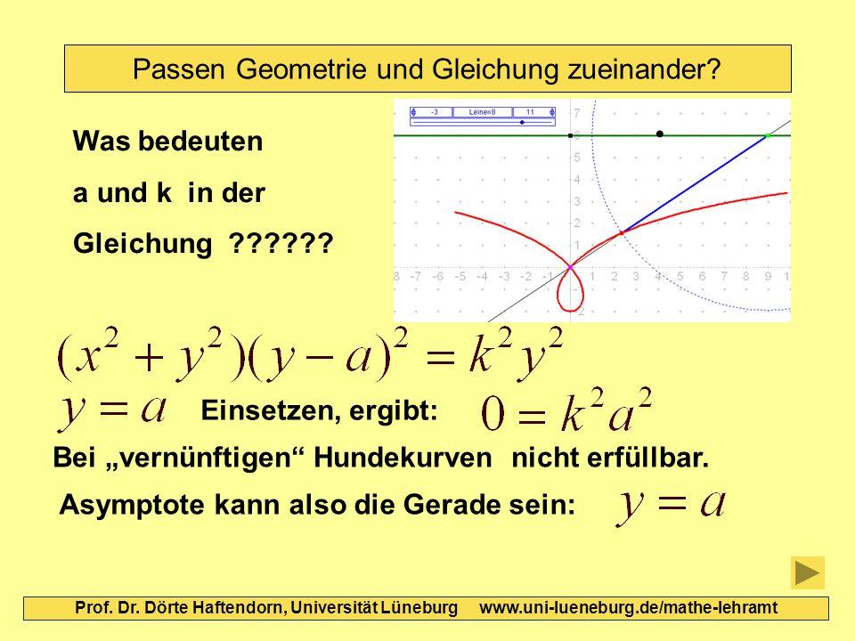 Passen Geometrie und Gleichung zueinander? Prof. Dr. Dörte Haftendorn, Universität Lüneburg www.uni-lueneburg.de/mathe-lehramt Einsetzen, ergibt: Bei