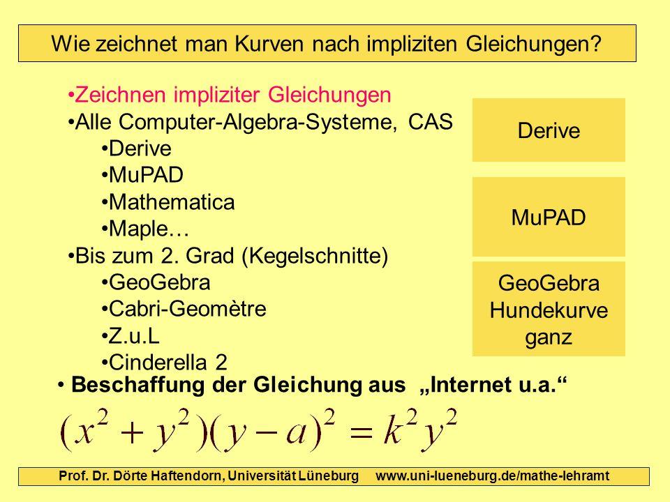 Wie zeichnet man Kurven nach impliziten Gleichungen? Prof. Dr. Dörte Haftendorn, Universität Lüneburg www.uni-lueneburg.de/mathe-lehramt Beschaffung d