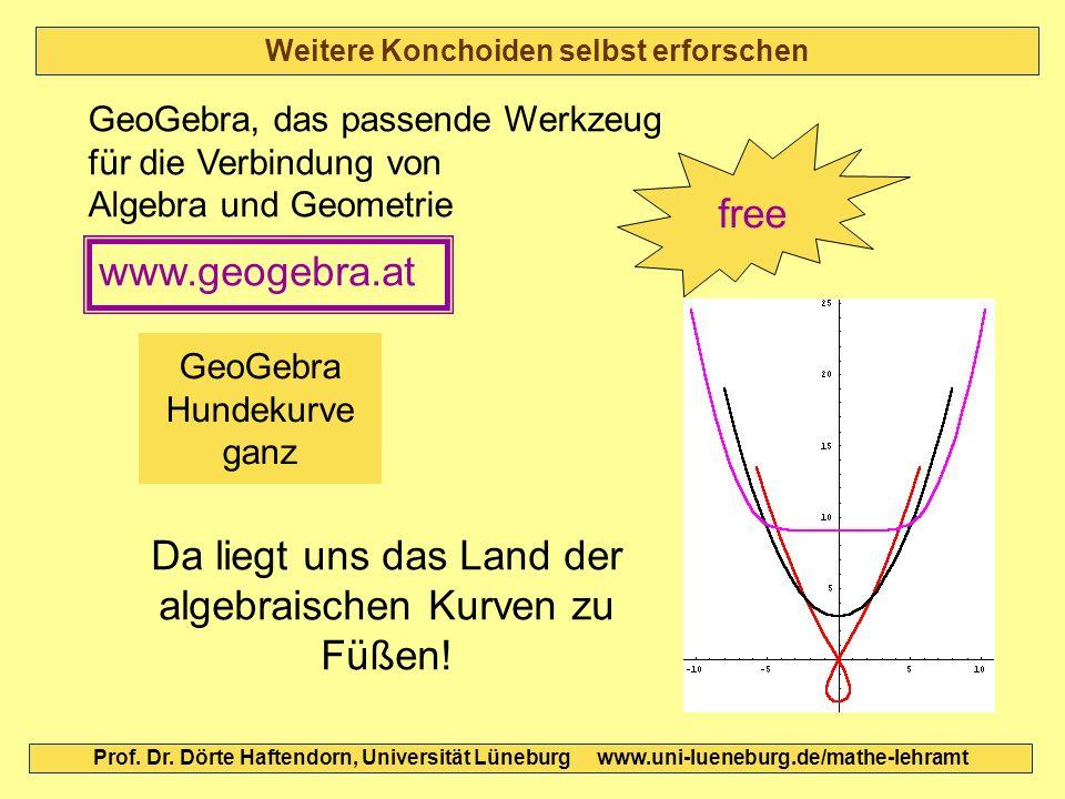 Weitere Konchoiden selbst erforschen Prof. Dr. Dörte Haftendorn, Universität Lüneburg www.uni-lueneburg.de/mathe-lehramt GeoGebra Hundekurve ganz GeoG