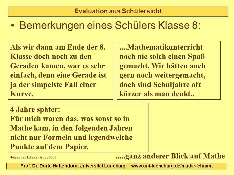Evaluation aus Schülersicht Bemerkungen eines Schülers Klasse 8: Als wir dann am Ende der 8. Klasse doch noch zu den Geraden kamen, war es sehr einfac