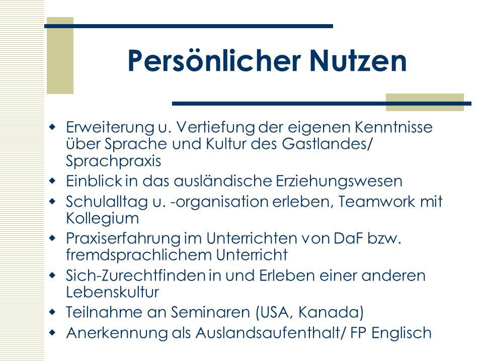 Adressen Pädagogischer Austauschdienst www.kmk.org/pad/home.htm Akademisches Auslandsamt Gebäude 8, 1.