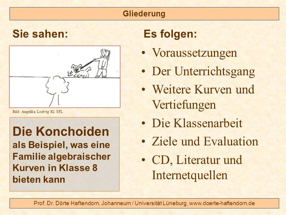 Prof. Dr. Dörte Haftendorn, Johanneum / Universität Lüneburg, www.doerte-haftendorn.de Gliederung Die Konchoiden als Beispiel, was eine Familie algebr