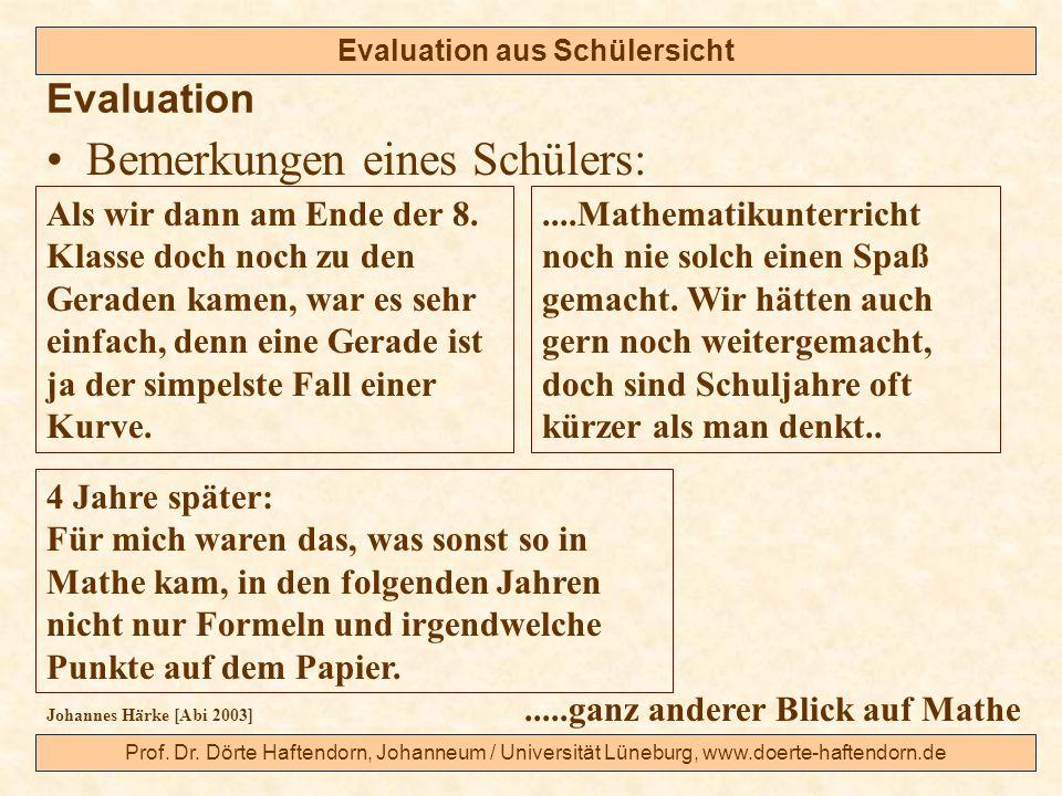 Prof. Dr. Dörte Haftendorn, Johanneum / Universität Lüneburg, www.doerte-haftendorn.de Evaluation aus Schülersicht Bemerkungen eines Schülers: Evaluat