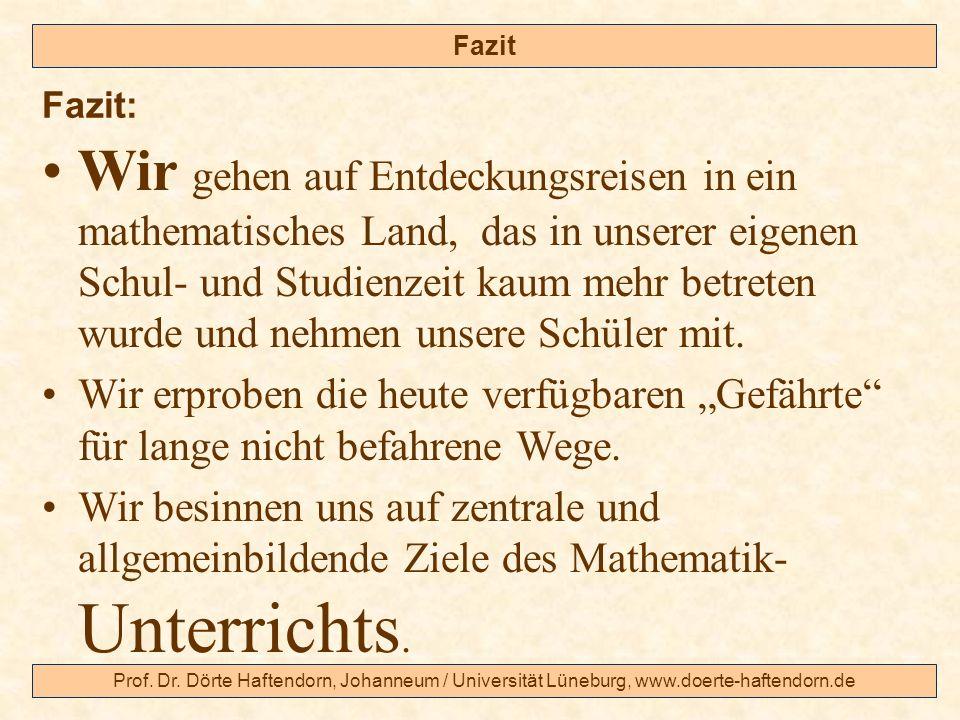 Prof. Dr. Dörte Haftendorn, Johanneum / Universität Lüneburg, www.doerte-haftendorn.de Fazit Wir gehen auf Entdeckungsreisen in ein mathematisches Lan
