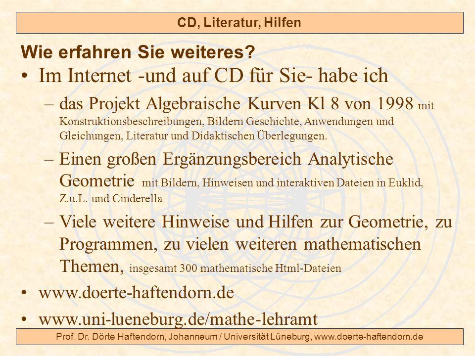 Prof. Dr. Dörte Haftendorn, Johanneum / Universität Lüneburg, www.doerte-haftendorn.de CD, Literatur, Hilfen Im Internet -und auf CD für Sie- habe ich