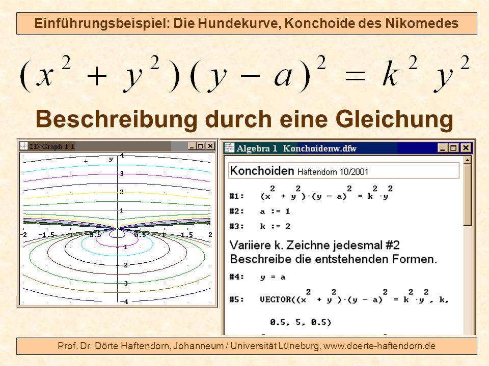 Prof. Dr. Dörte Haftendorn, Johanneum / Universität Lüneburg, www.doerte-haftendorn.de Einführungsbeispiel: Die Hundekurve, Konchoide des Nikomedes Be