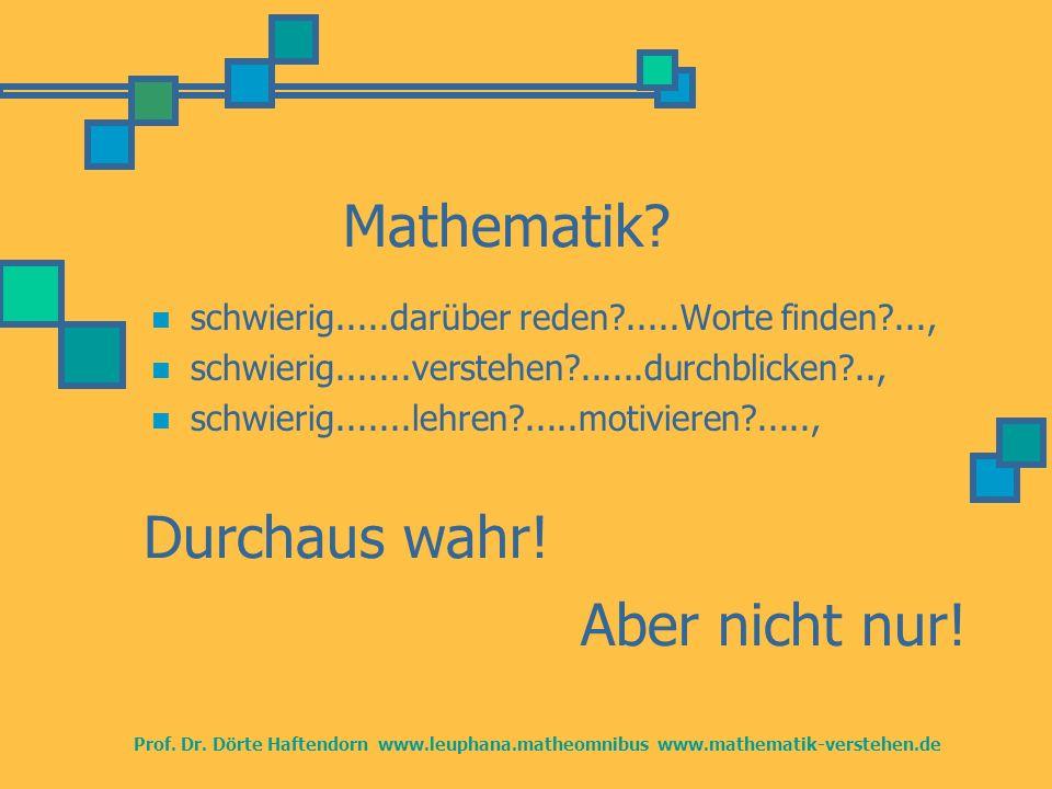Prof. Dr. Dörte Haftendorn www.leuphana.matheomnibus www.mathematik-verstehen.de Mathematik? schwierig.....darüber reden?.....Worte finden?..., schwie