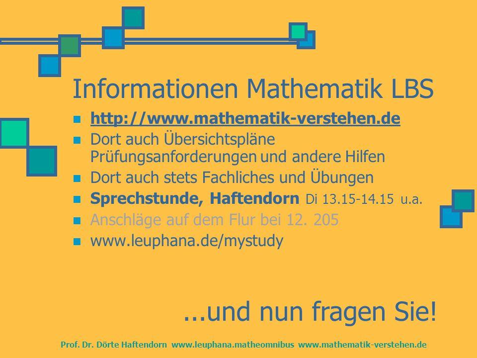 Informationen Mathematik LBS http://www.mathematik-verstehen.de Dort auch Übersichtspläne Prüfungsanforderungen und andere Hilfen Dort auch stets Fach