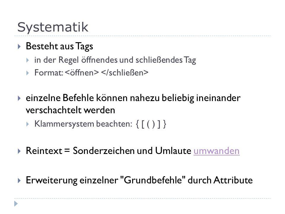 Links einfacher Link: Text oder Bild Absoluter Link: verlinkt eine andere Seite: Link-Pfad = vollständige URL angeben Relativer Link: identische Datei-Pfad-Teile werden weggelassen Link soll in neuem Fenster öffnen mit Attribut: target= _blank eMail-Verlinkung: Text oder Bild