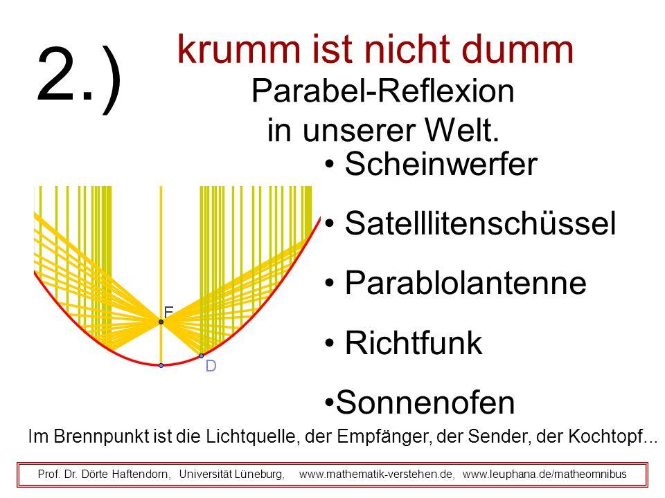 krumm ist nicht dumm Prof. Dr. Dörte Haftendorn, Universität Lüneburg, www.mathematik-verstehen.de, www.leuphana.de/matheomnibus 2.) Parabel-Reflexion