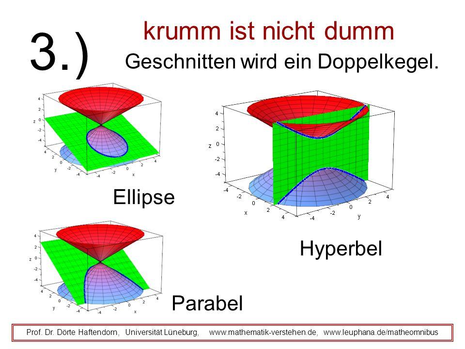 krumm ist nicht dumm Geschnitten wird ein Doppelkegel. Prof. Dr. Dörte Haftendorn, Universität Lüneburg, www.mathematik-verstehen.de, www.leuphana.de/