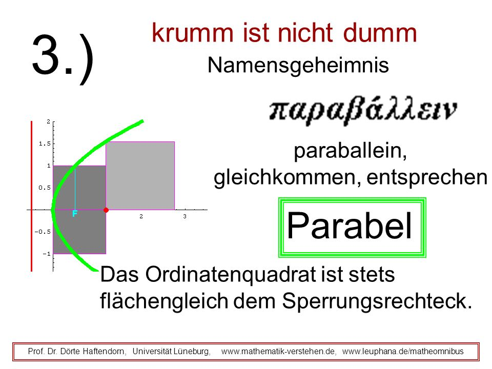 krumm ist nicht dumm Namensgeheimnis Prof. Dr. Dörte Haftendorn, Universität Lüneburg, www.mathematik-verstehen.de, www.leuphana.de/matheomnibus 3.) p