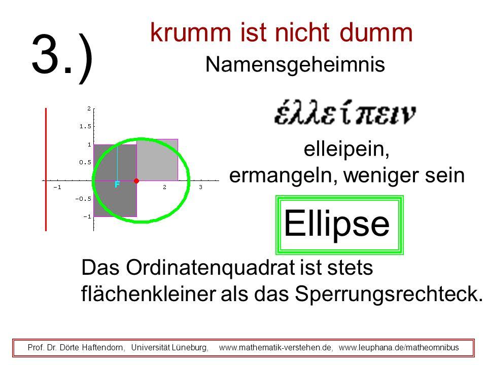 elleipein, ermangeln, weniger sein krumm ist nicht dumm Namensgeheimnis Prof. Dr. Dörte Haftendorn, Universität Lüneburg, www.mathematik-verstehen.de,