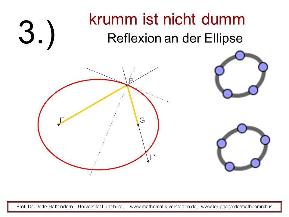krumm ist nicht dumm Reflexion an der Ellipse Prof. Dr. Dörte Haftendorn, Universität Lüneburg, www.mathematik-verstehen.de, www.leuphana.de/matheomni