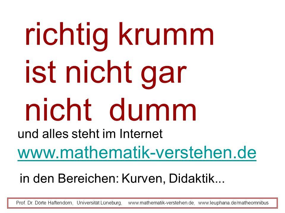 Prof. Dr. Dörte Haftendorn, Universität Lüneburg, www.mathematik-verstehen.de, www.leuphana.de/matheomnibus richtig krumm ist nicht gar nicht dumm und