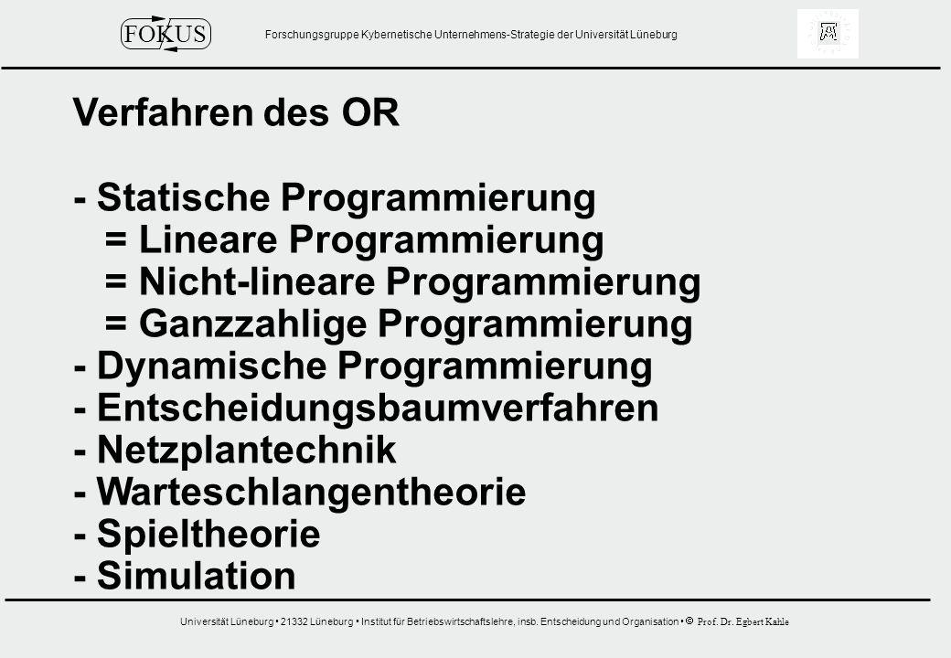 Forschungsgruppe Kybernetische Unternehmens-Strategie der Universität Lüneburg Universität Lüneburg 21332 Lüneburg Institut für Betriebswirtschaftslehre, insb.