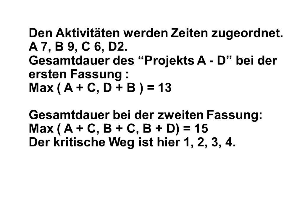 Den Aktivitäten werden Zeiten zugeordnet.A 7, B 9, C 6, D2.