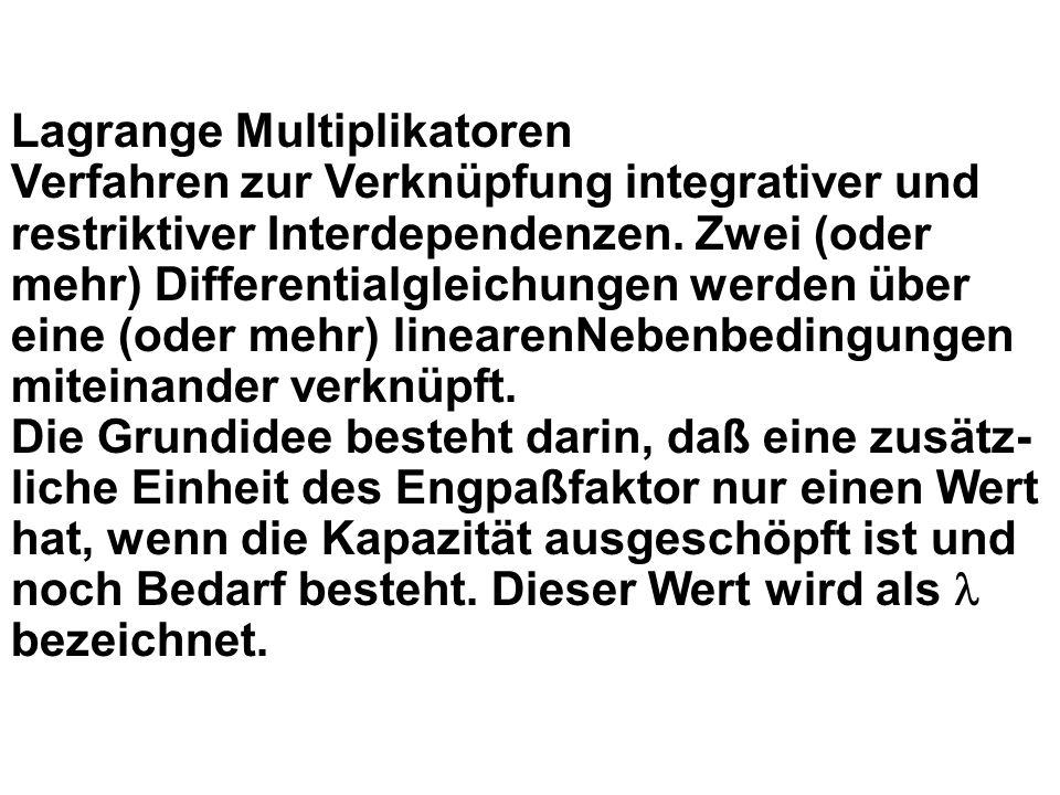 Lagrange Multiplikatoren Verfahren zur Verknüpfung integrativer und restriktiver Interdependenzen.