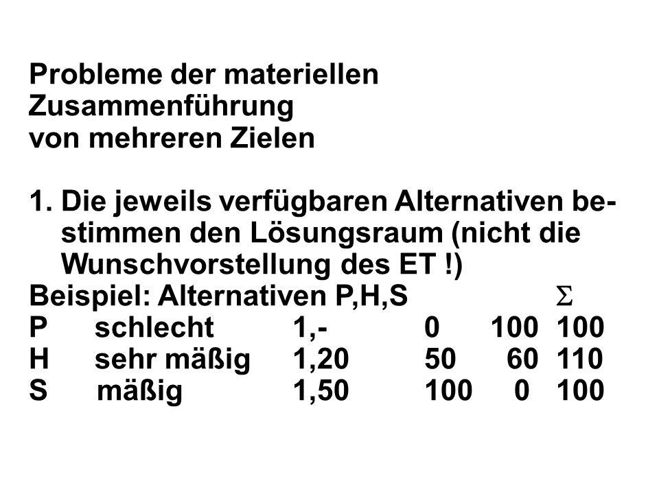 Probleme der materiellen Zusammenführung von mehreren Zielen 1.