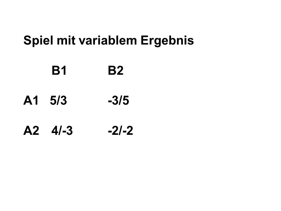 Spiel mit variablem Ergebnis B1B2 A1 5/3-3/5 A24/-3-2/-2