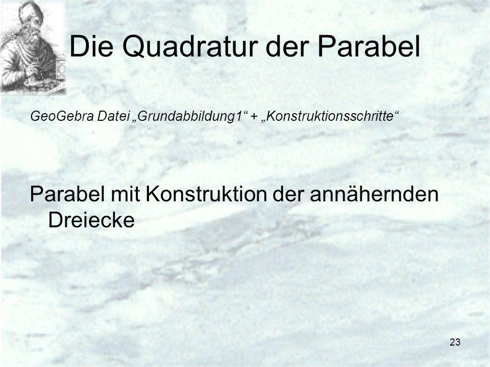 23 Die Quadratur der Parabel GeoGebra Datei Grundabbildung1 + Konstruktionsschritte Parabel mit Konstruktion der annähernden Dreiecke