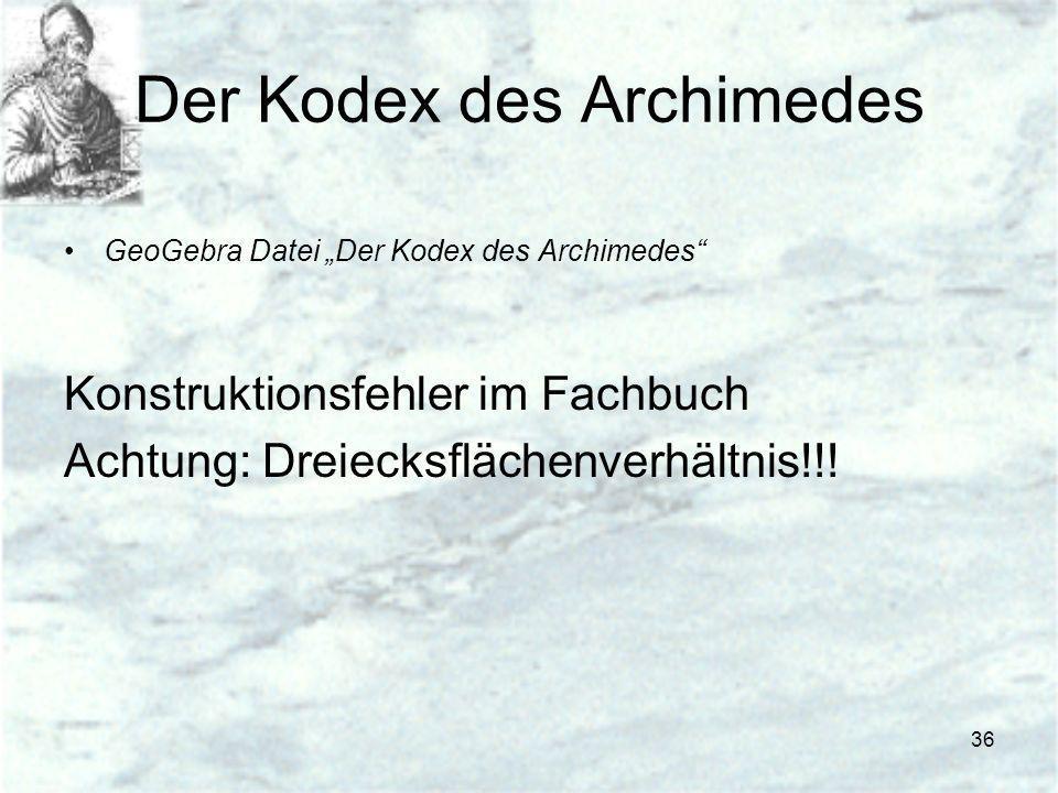 36 Der Kodex des Archimedes GeoGebra Datei Der Kodex des Archimedes Konstruktionsfehler im Fachbuch Achtung: Dreiecksflächenverhältnis!!!