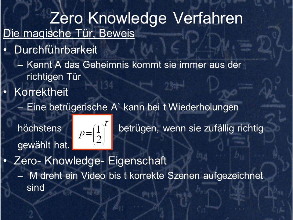 Zero Knowledge Verfahren Die magische Tür, Beweis Durchführbarkeit –Kennt A das Geheimnis kommt sie immer aus der richtigen Tür Korrektheit –Eine betr