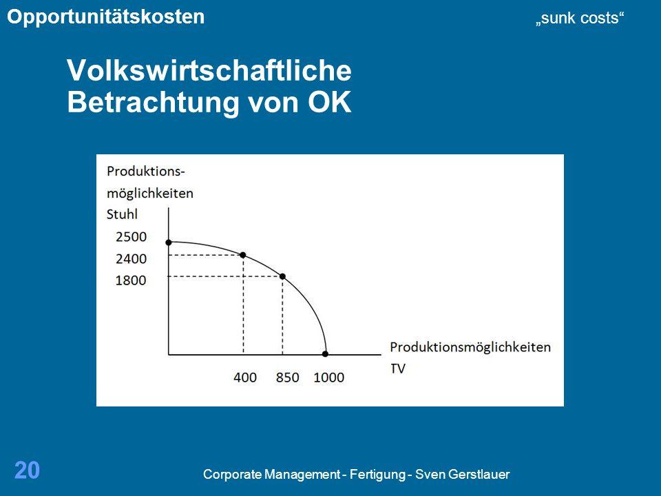 Corporate Management - Fertigung - Sven Gerstlauer 20 Volkswirtschaftliche Betrachtung von OK Opportunitätskosten sunk costs