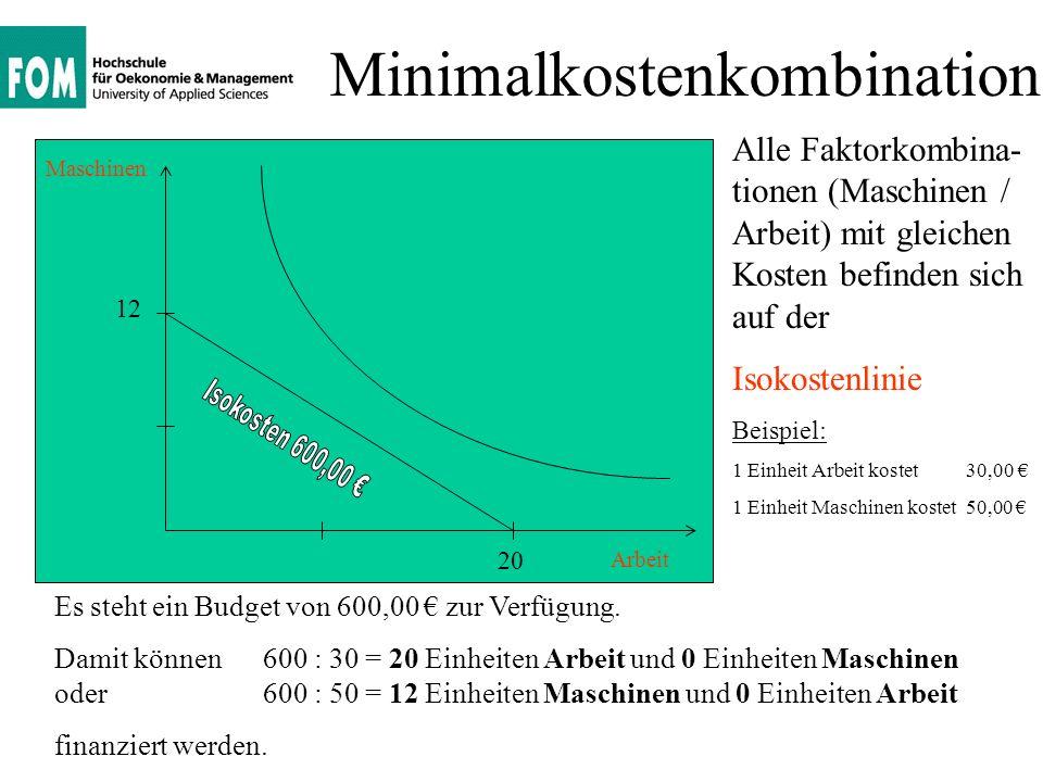 Minimalkostenkombination Arbeit Maschinen Mit einem Budget in Höhe von 750,00 können an einem bestimmten Punkt mit einer bestimmten Faktorkombination genau 500 Stück mit minimalen Kosten produziert werden.