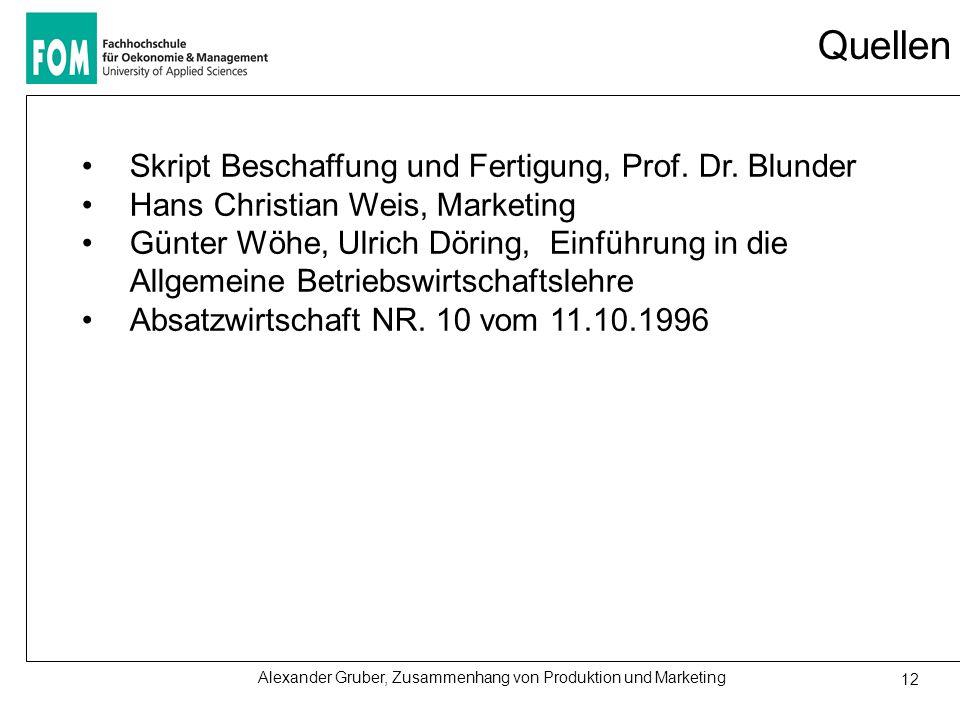 Alexander Gruber, Zusammenhang von Produktion und Marketing 12 Quellen Skript Beschaffung und Fertigung, Prof. Dr. Blunder Hans Christian Weis, Market